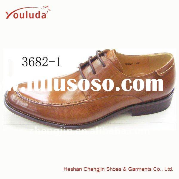 Brown leather lace-up men's dress shoes 3682-1