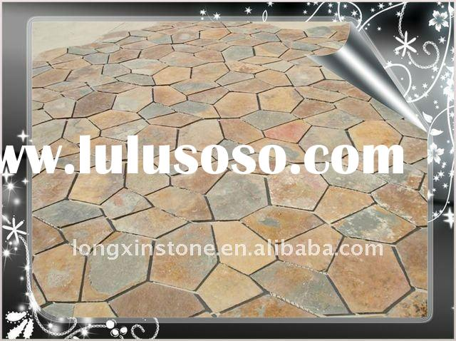 Car Parking stone meshed slate floor paving tiles