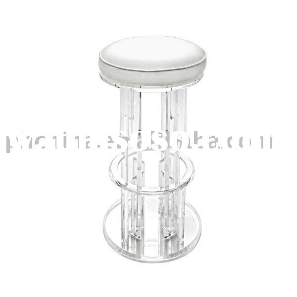 Clear Acrylic Swivel Icicle Bar Stool With Leatherette Cushion