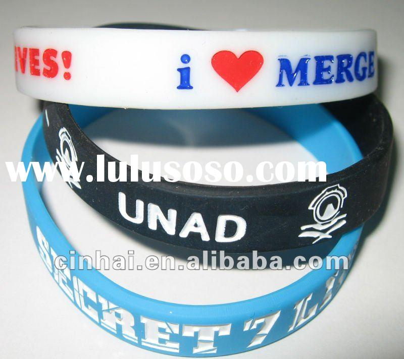 Clear Silicone Fluorescent Bracelet with customized engraved and color filled logo