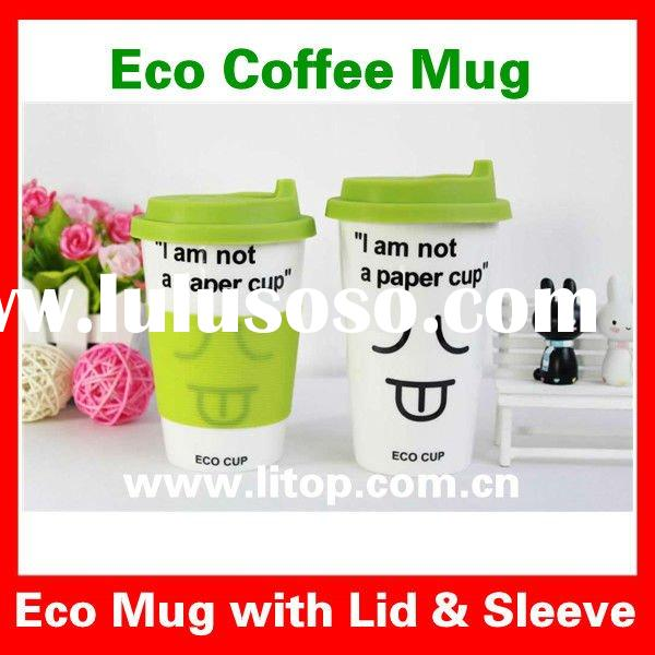 Cool Monogrammed Eco Ceramic Coffee Mug Cup Tea Mug Cup Photos on Mugs with Silicon Lid & Sleeve