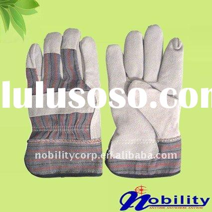 Cow Split Leather Full Palm Working Safety Gloves With Half Lining