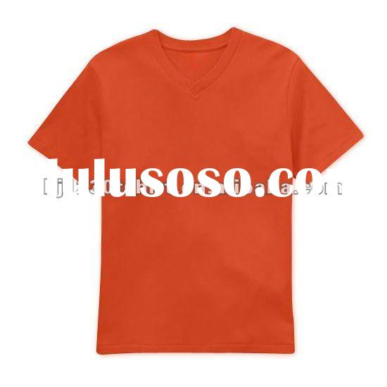 Custom Private Label 100% Organic Cotton Plain V Neck T Shirt for Men and Women