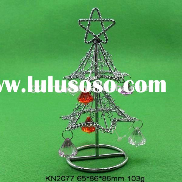Decorative chromium plated iron wire Christmas tree with acrylic beads
