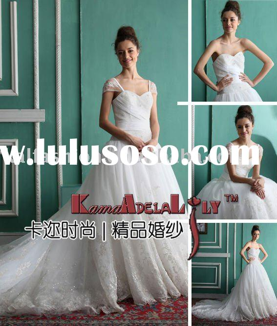 EB893 Tulle and lace ball gown wedding dress petite lace wedding dresses demountable sleeve dress