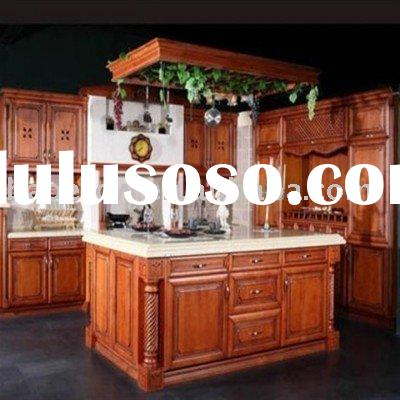 European solid wood kitchen cabinet with island