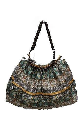 Fashion new design leisure lady bag with beaded handle
