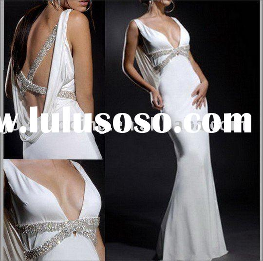 Fashion new white chiffon long prom evening dress EG0094