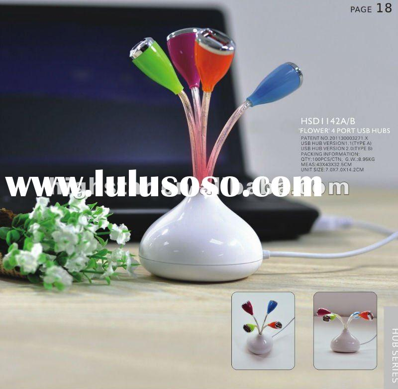 Flower 4 Ports USB Hub with Decorated LED Light