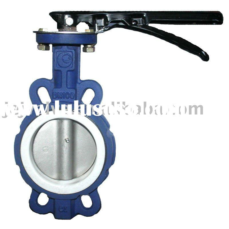 Food Industry Wafer Ductile Iron Teflon Coated Butterfly Valve