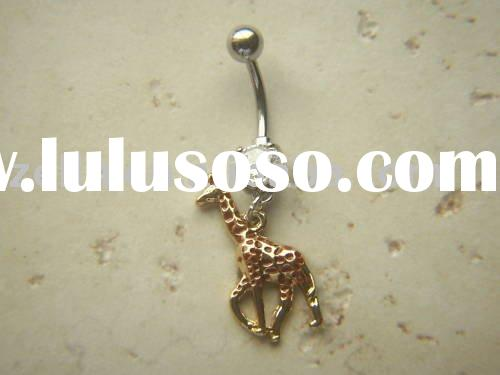 Giraffe CZ Clear Gem Dangle Belly Ring Navel (,navel ring,body jewelry