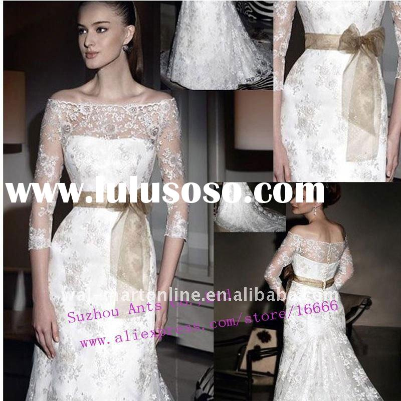 Hot Sale EU022 A-line Long Sleeve White Lace Top Wedding Dress with Belt