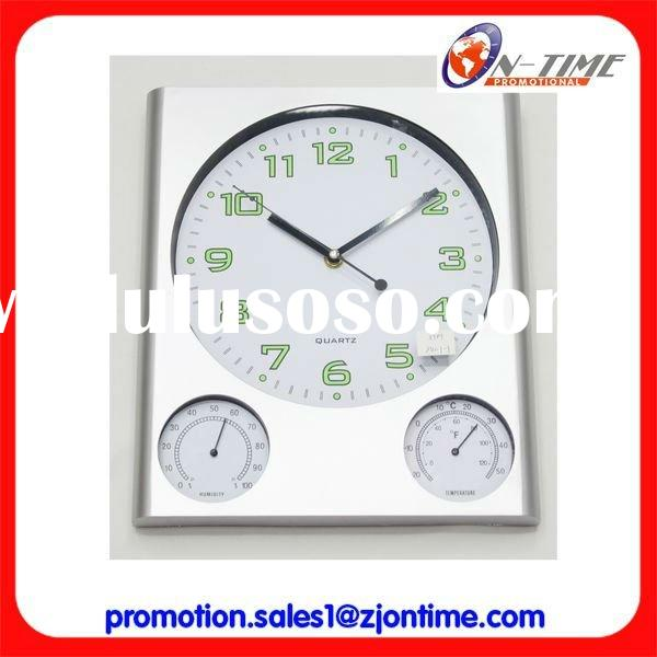 Humidity and temperature display wall clock/Decorative plastic wall clock with multiple displays