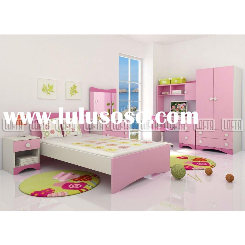 Kids bedroom furniture with child bed, lamp table, contemporary wardrobe and modern desk, chair not