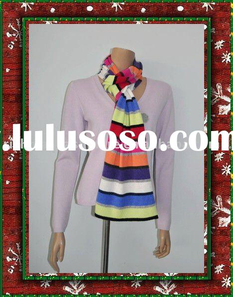 Knitted Striped Cashmere Scarf for Lady