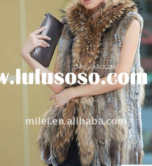 Ladies raccoon dog fur and knitted rabbit fur vest knitted fur garment