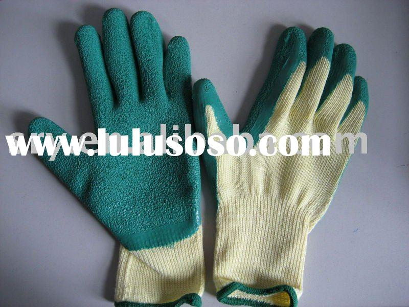 Latex glove Cotton knitted Natural Latex Half Dipped Rubber Glove