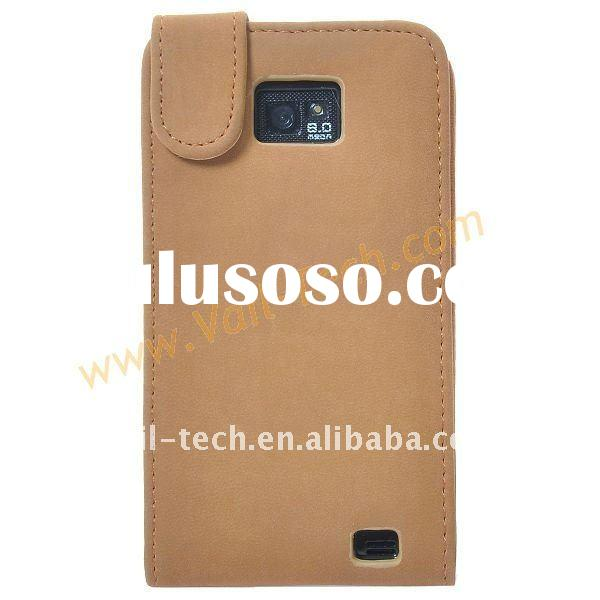 Light Brown Classical Frosted Leather Protective Flip Case Cover For Samsung Galaxy S2 i9100
