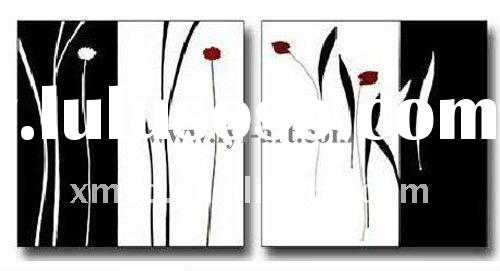 Modern white and black group oil painting flower art