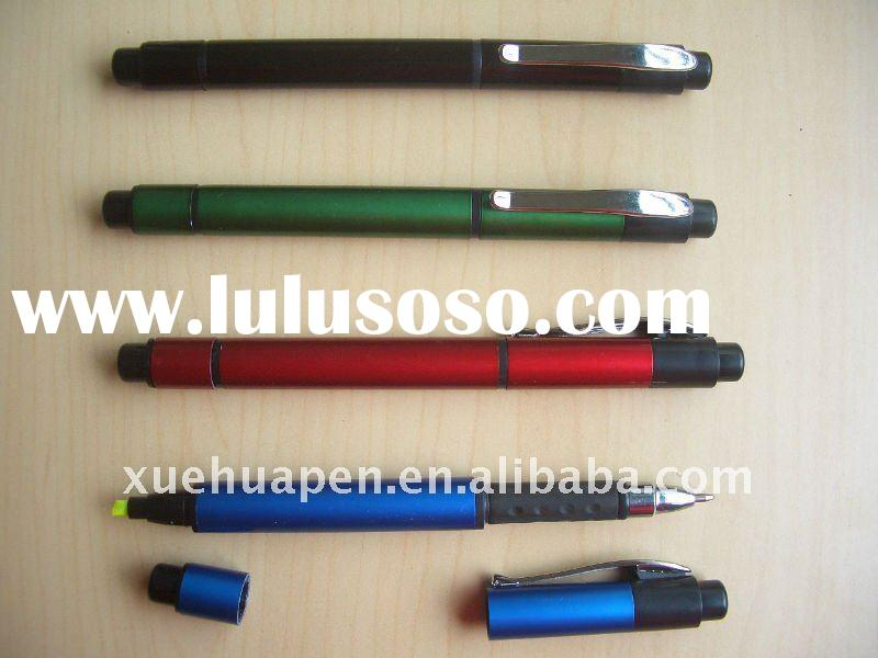 Multifunctional ball pen with highlighter pen
