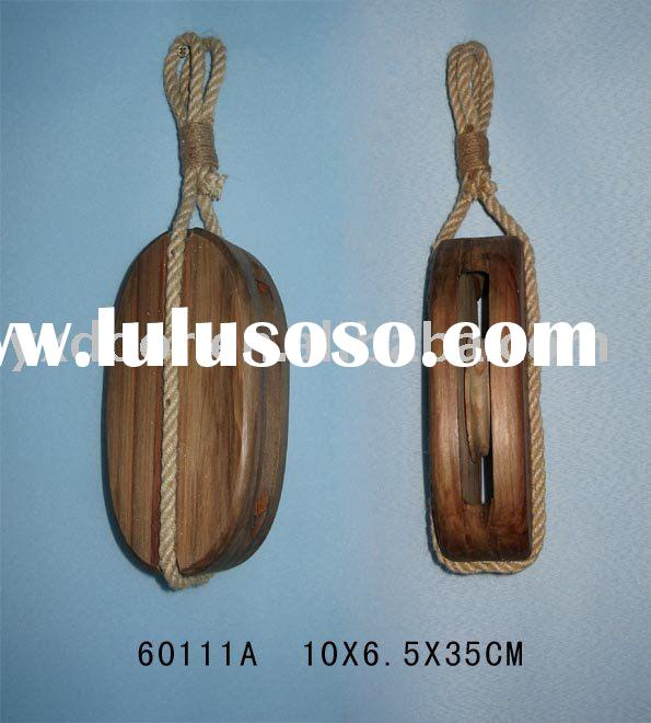 Nautical Wooden Pulley,Nautical wooden chain wheel(60111A)nautical wooden pulley