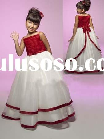 New strap style formal flower girl dress f0075