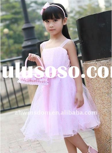 Newest style beautiful pink flower girl's wedding dress/princess dress