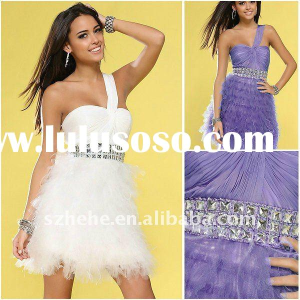 One shoulder beaded waist tiered purple tulle feather dresses short