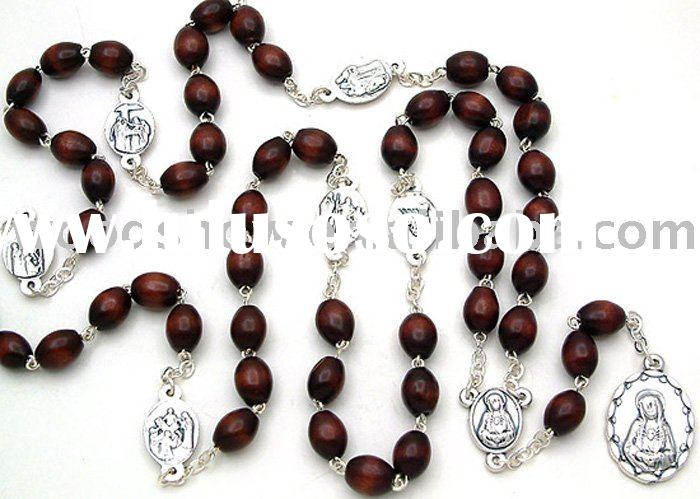 Oval Brown wooden beads rosary Chaplet for praying with Jesus cross alloy pendant necklace