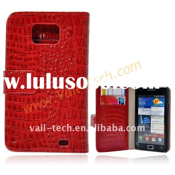 Red New Wallet Design Crocodile Grain Flip Leather Protective Case Cover For Samsung Galaxy S2 i9100