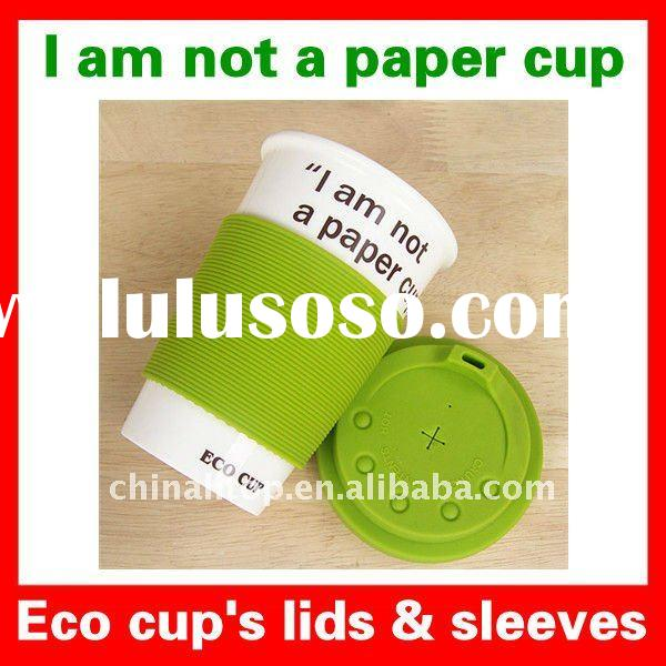 "Reuseable Cartoon Smiling Face Eco Mug Coffee Tea Cup ""I am not a paper cup"" with Silicone"
