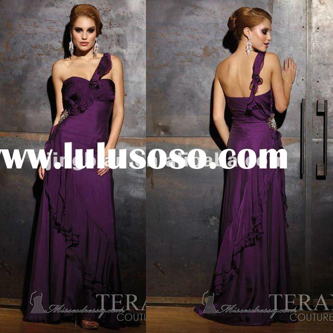 SC1558 pregnant women dresses sweetheart neck one shoulder purple prom dresses 2012 by Terani coutur