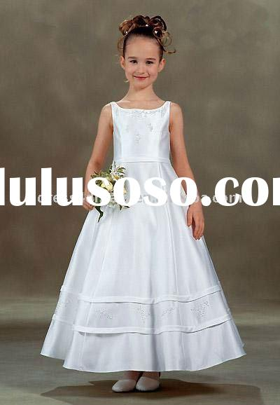 Satin a line beading children frocks designs