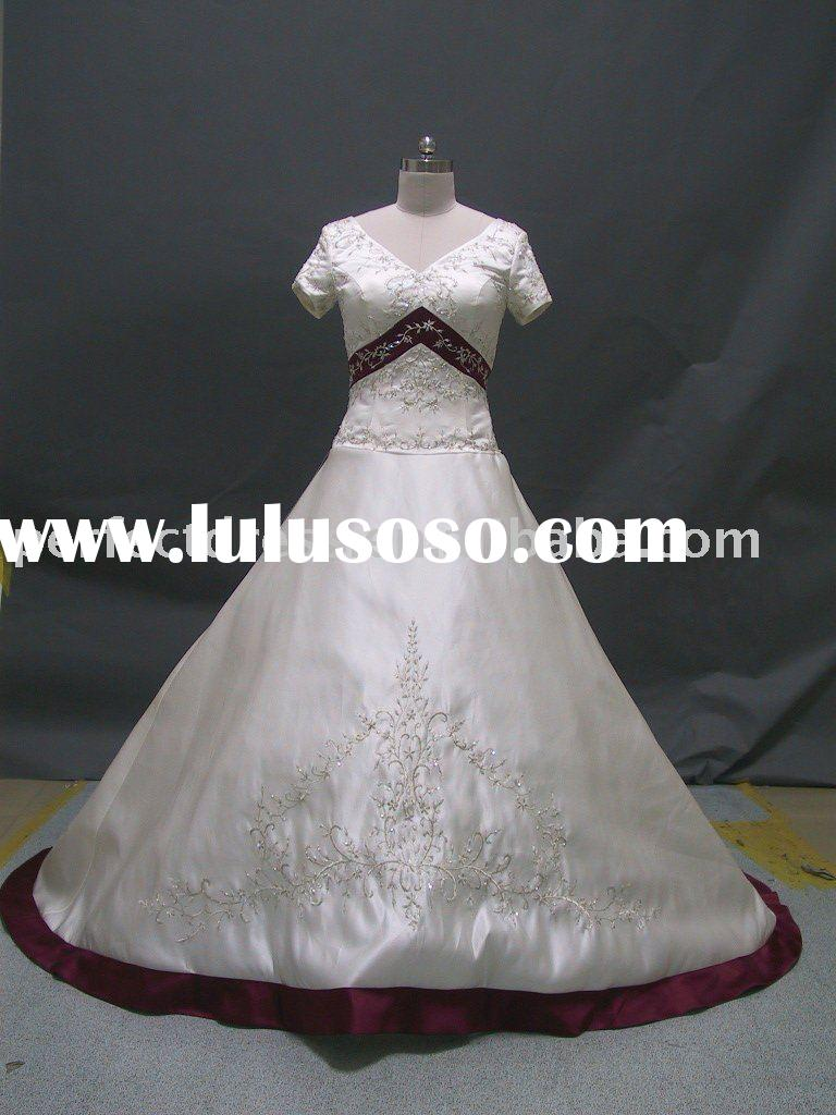 Short sleeve Embroidery vintage bridal wedding gown