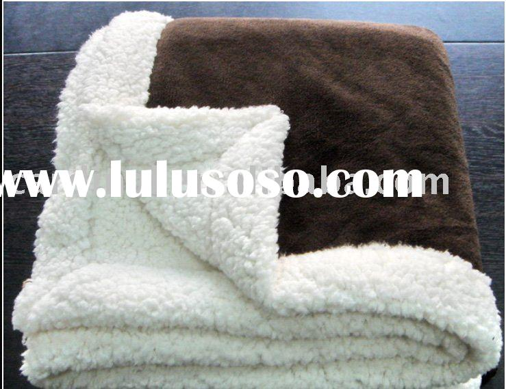 Solid super soft plush blanket with sherpa backing