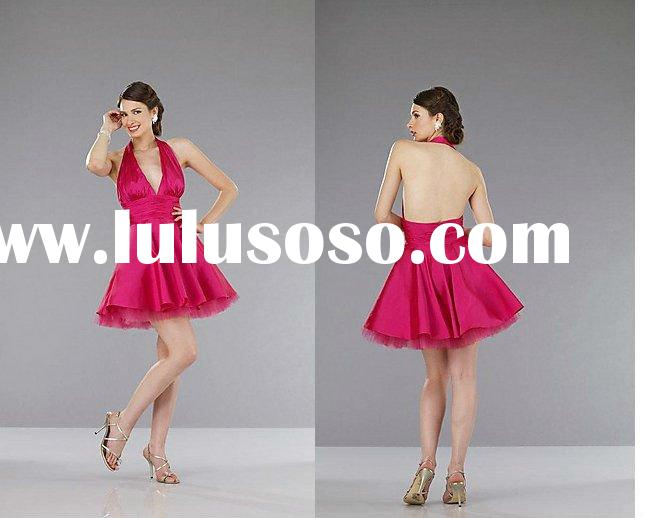 Stylish backless halter low v-neckline fushia party dress YS-1924