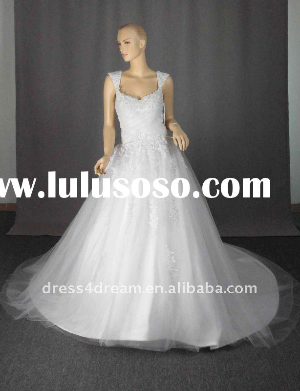 Tulle ball gown real sample wedding dress with lace beaded