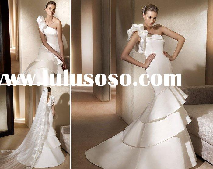 W71 New style hot sale satin one-shoulder mermaid wedding dress