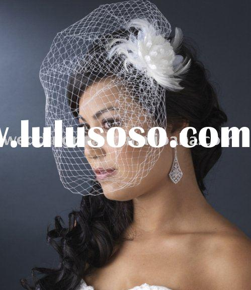 WEDDING FEATHER FASCINATORS WITH CAGE VEIL WDF003