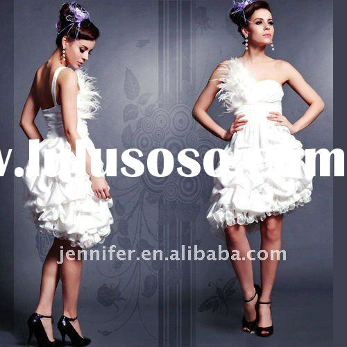 White Popular Short One Shoulder Feather Party Dress mel029
