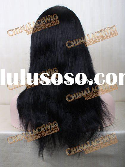 #1 Black hair natural wave long Brazilian 100% Human remy hair stock full lace wigs