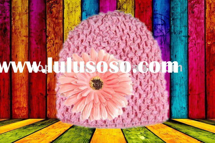 baby Knitting Crochet Beanie with Daisy flower