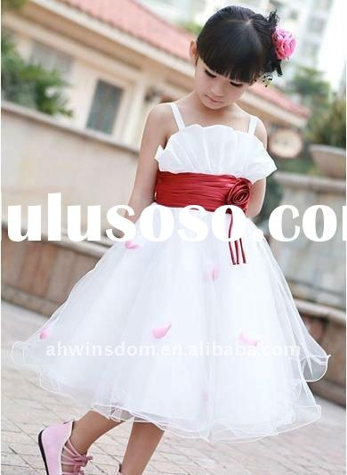 beautiful white flower girl's wedding dress/princess dress