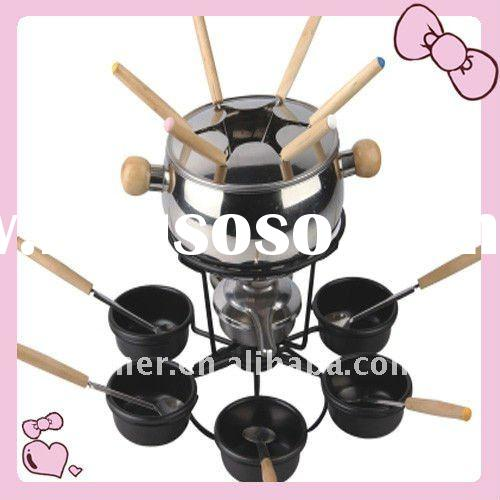 cheese/Chocolate/chinese fondue set,stainless steel fondue set with fork and spoon