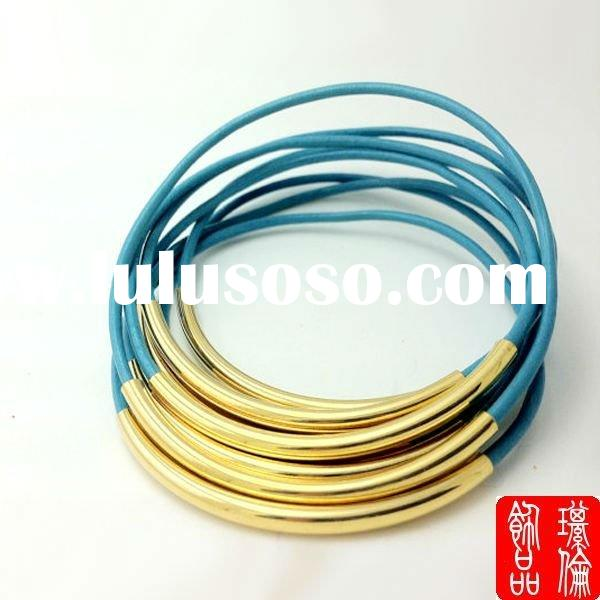 colorful leather metal tube bracelet bangles 18K gold bangles