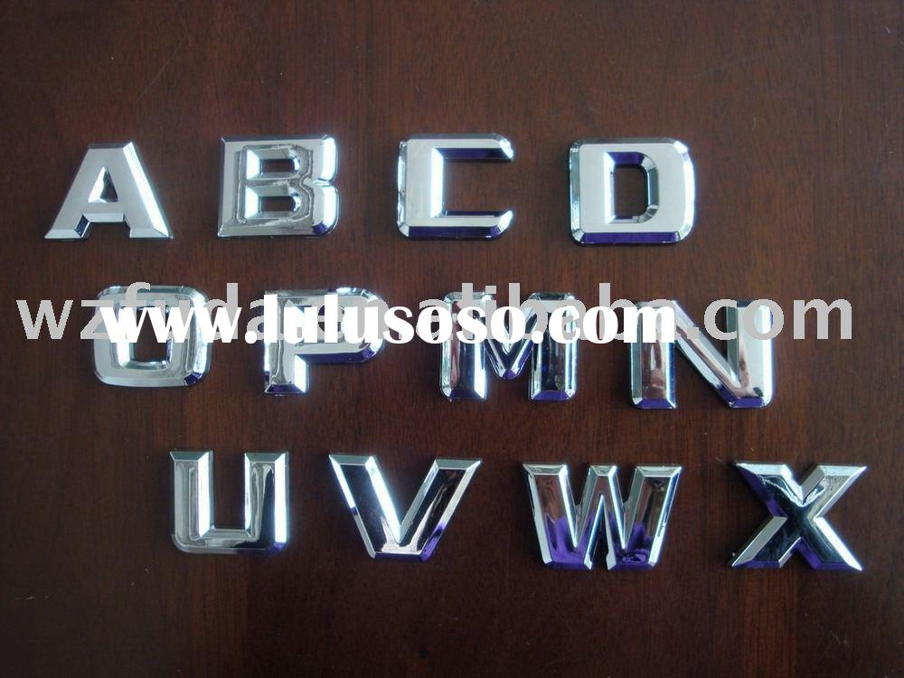 decorative chrome letters,logo/car badge, letter badge with 3M sticker, ABS sign,body car sticker