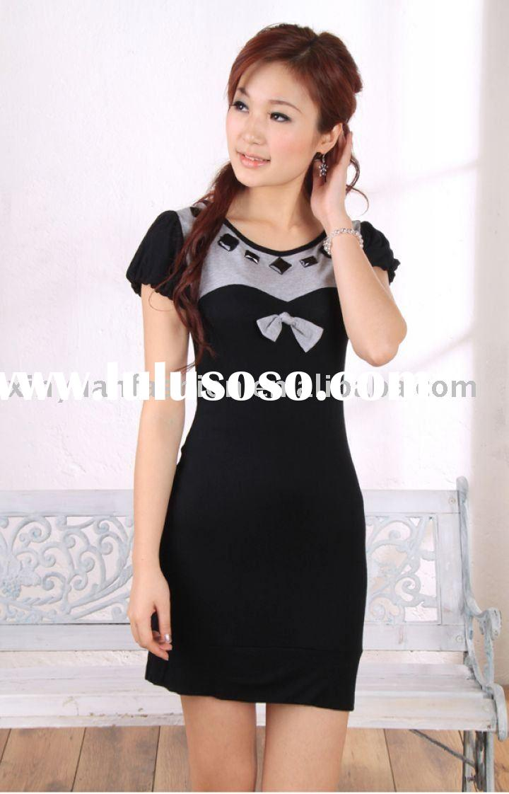 elegant mature with bow tie decorate formal dress
