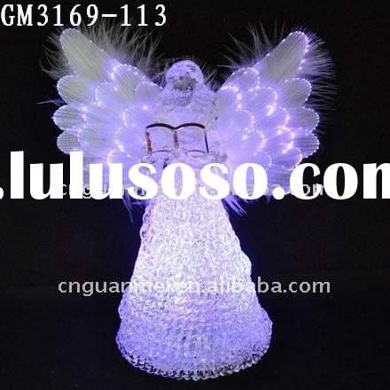 glass christmas fiber optic angel wings with led changing light