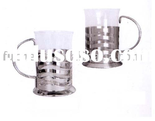 glass cup with stainless steel holder