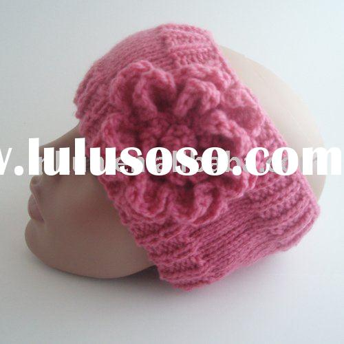 hand knitted winter acrylic headband with crochet flower